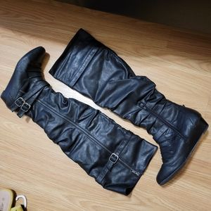 Unique Faux Leather Knee High Boots